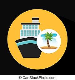 voyage, vacances, exotique, croisière, plage, bateau