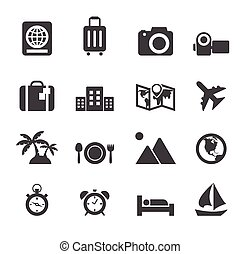 voyage, vacances, icônes