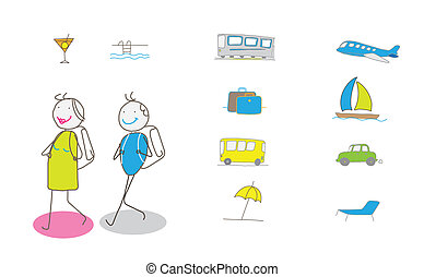 voyage, vacances, illustration