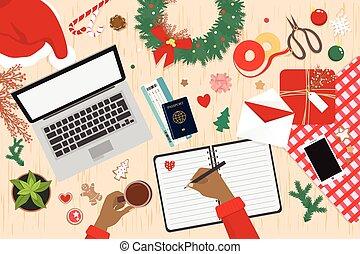 voyage, vacances, préparer, noël