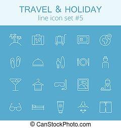 voyage vacances, set., icône