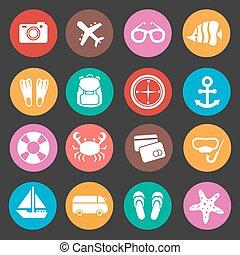 voyage vacances, vecteur, tourisme, icônes