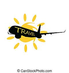 voyage, vecteur, avion