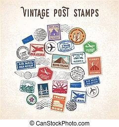 voyage, vecteur, conception, timbres