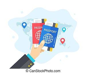 voyage, vecteur, design., illustration, voyage, ligne aérienne, deux, passeports, plat, carte, labels., tenue, voyage, mondiale, concepts., billets, tourisme, main