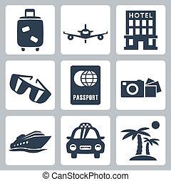 voyage, vecteur, ensemble, isolé, icônes