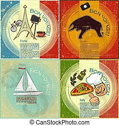 voyage, vecteur, -, espagnol, carte, style, thème, ensemble, carte postale, grunge, vendange, illustration, italien, francais