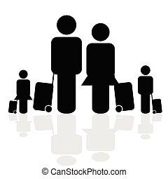 voyage, vecteur, famille, icône