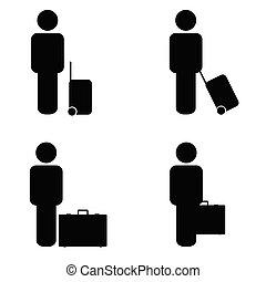 voyage, vecteur, gens, icône