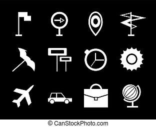 voyage, vecteur, icône, ensemble