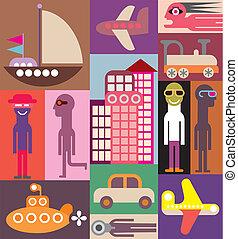 voyage, vecteur, -, illustration