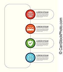 voyage, vecteur, présentation, options, graphique, gabarit, diagramme, infographic, diagramme, business, 4, droit & loi, concept