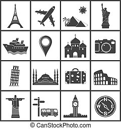 voyage, vecteur, repères, icônes