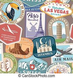voyage, vecteur, timbres, coloré, texture