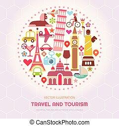 voyage, vecteur, tourisme, illustration