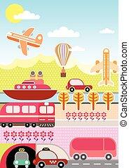 voyage, vecteur, transport, illustration