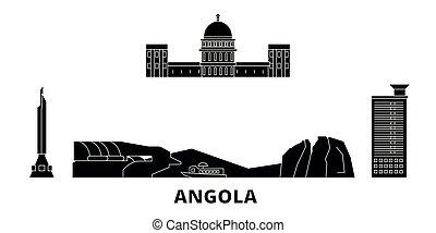 voyage, vecteur, ville, noir, symbole, angola, vues, landmarks., set., illustration, horizon, plat