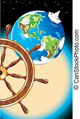 voyage, vector., postcard.