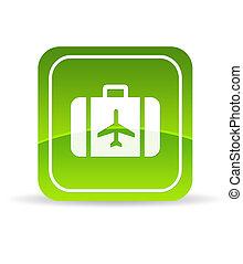 voyage, vert, icône