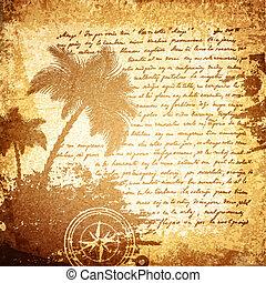 voyage, vieille lettre, fond