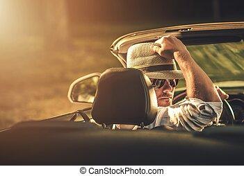 voyage, voiture convertible, route