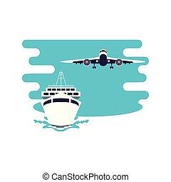 voyage, voler, bateau croisière, avion, bateau