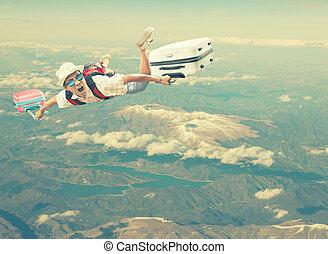 voyager, à, appartenir, bagage, flotter, mi air, sur,...