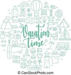 voyager, activités, temps, vacances, icônes