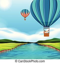 voyager, air, balloon, chaud