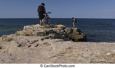 voyager, couple, vélo, montagne