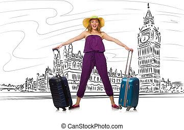 voyager, femme, londres, jeune, royaume-uni