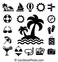 voyager icônes vacances, ensemble
