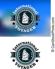 voyager, international, emblème