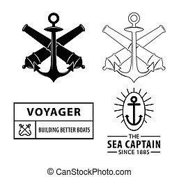 voyager, nautisch, badge, etiket