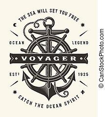 voyager, (one, color), ouderwetse , typografie, nautisch