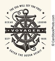 voyager, (one, color), vendange, typographie, nautique