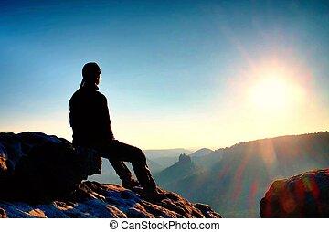 voyager, randonneur, prendre, nature., montagne, européen, ...