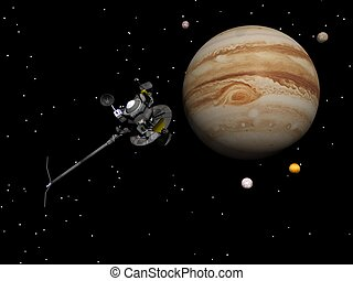 Voyager spacecraft near Jupiter and its satellites - 3D...