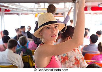 voyager, transport., public, touriste