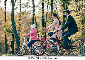voyager vélos, parc, famille, heureux
