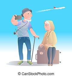 voyager, vecteur, vieux, illustration, gens