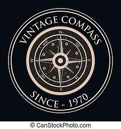 voyager, vendange, compas, étiquette, conception, retro, nautique