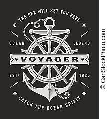 voyager, vendange, typographie, arrière-plan noir, nautique