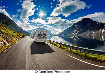 voyages, caravane, highway., voiture