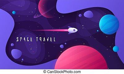 voyages, extérieur, galaxies, espace, interstellaire, ...