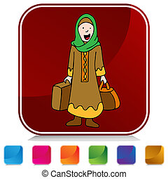 voyageur, girl, musulman, ensemble, bouton