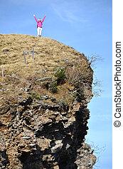 voyageur, sommet, rocher