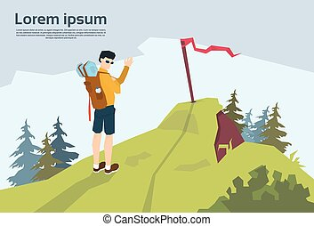 voyageur, sur, colline, randonneur, à, rucksack, montagne, fond