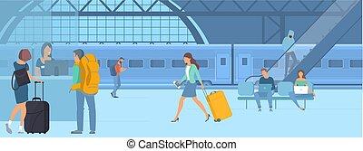 voyageurs, à, gare