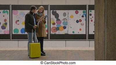 voyageurs, café, tampon, jeune, métro